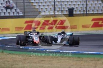 World © Octane Photographic Ltd. Formula 1 – German GP - Race. Haas F1 Team VF-18 – Romain Grosjean and Mercedes AMG Petronas Motorsport AMG F1 W09 EQ Power+ - Lewis Hamilton. Hockenheimring, Baden-Wurttemberg, Germany. Sunday 22nd July 2018.