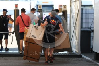 World © Octane Photographic Ltd. Formula 1 – German GP - Paddock. Aston Martin Red Bull Racing mechanics with packing cases. Hockenheimring, Baden-Wurttemberg, Germany. Friday 20th July 2018.