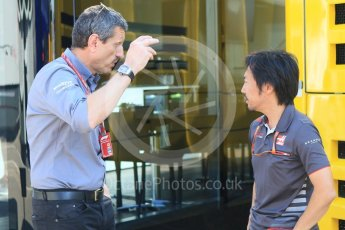 World © Octane Photographic Ltd. Formula 1 - German GP - Paddock. Ayao Komastu - Chef Race Engineer and Guenther Steiner - Team Principal of Haas F1 Team. Hockenheimring, Baden-Wurttemberg, Germany. Thursday 19th July 2018.