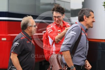 World © Octane Photographic Ltd. Formula 1 - German GP - Paddock. Gene Haas  - Founder and Chairman and Guenther Steiner  - Team Principal of Haas F1 Team with Mattia Binotto – Chief Technical Officer - Scuderia Ferrari. . Hockenheimring, Baden-Wurttemberg, Germany. Saturday 21st July 2018.