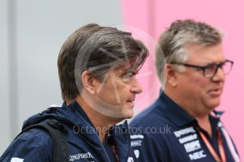 World © Octane Photographic Ltd. Formula 1 - German GP - Paddock. Andy Stevenson - Sporting Director and Otmar Szafnauer - Chief Operating Officer of Sahara Force India. Hockenheimring, Baden-Wurttemberg, Germany. Saturday 21st July 2018.