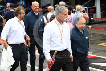 World © Octane Photographic Ltd. Formula 1 – German GP. Chase Carey andn Jean Todt at the  Scuderia Ferrari F2004 of Michael Schumacher being driven by his son Mick Schumacher. Hockenheimring, Hockenheim, Germany. Sunday 28th July 2019.