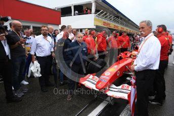 World © Octane Photographic Ltd. Formula 1 – German GP. Scuderia Ferrari F2004 of Michael Schumacher being driven by his son Mick Schumacher. Hockenheimring, Hockenheim, Germany. Sunday 28th July 2019.