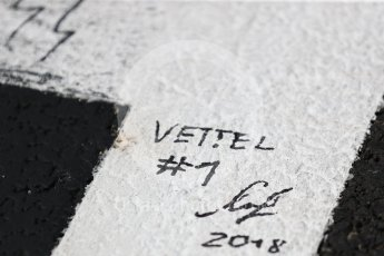 World © Octane Photographic Ltd. Formula 1 – Hungarian GP - Drivers' Parade. Scuderia Ferrari SF71-H – Sebastian Vettel signed grid box. Hungaroring, Budapest, Hungary. Sunday 29th July 2018.