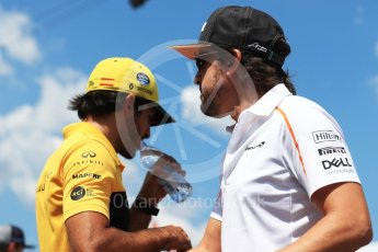 World © Octane Photographic Ltd. Formula 1 – Hungarian GP - Drivers' Parade. McLaren MCL33 – Fernando Alonso and Renault Sport F1 Team RS18 – Carlos Sainz. Hungaroring, Budapest, Hungary. Sunday 29th July 2018.