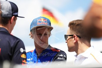 World © Octane Photographic Ltd. Formula 1 – Hungarian GP - Drivers' Parade. Aston Martin Red Bull Racing TAG Heuer RB14 – Max Verstappen, Scuderia Toro Rosso STR13 – Brendon Hartley and McLaren MCL33 – Stoffel Vandoorne. Hungaroring, Budapest, Hungary. Sunday 29th July 2018.