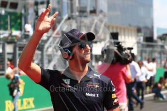 World © Octane Photographic Ltd. Formula 1 – Hungarian GP - Drivers' Parade. Aston Martin Red Bull Racing TAG Heuer RB14 – Daniel Ricciardo. Hungaroring, Budapest, Hungary. Sunday 29th July 2018.