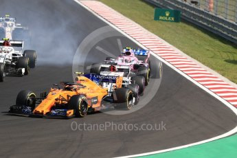 World © Octane Photographic Ltd. Formula 1 – Hungarian GP - Race. McLaren MCL33 – Stoffel Vandoorne, Alfa Romeo Sauber F1 Team C37 – Marcus Ericsson and Sahara Force India VJM11 - Esteban Ocon. Hungaroring, Budapest, Hungary. Sunday 29th July 2018.