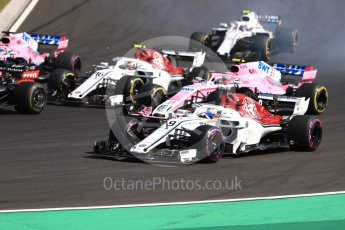 World © Octane Photographic Ltd. Formula 1 – Hungarian GP - Race. Alfa Romeo Sauber F1 Team C37 – Marcus Ericsson, Sahara Force India VJM11 - Esteban Ocon, Charles Leclerc and Sergio Perez. Hungaroring, Budapest, Hungary. Sunday 29th July 2018.