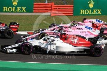 World © Octane Photographic Ltd. Formula 1 – Hungarian GP - Race. Alfa Romeo Sauber F1 Team C37 – Marcus Ericsson, Sahara Force India VJM11 - Esteban Ocon, Charles Leclerc and Sergio Perez. Hungaroring, Budapest, Hungary. Sunday 29th July 2018.