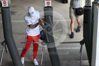 World © Octane Photographic Ltd. Formula 1 – Hungarian GP - Paddock. Mercedes AMG Petronas Motorsport - Lewis Hamilton. Hungaroring, Budapest, Hungary. Friday 27th July 2018.