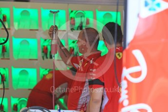 World © Octane Photographic Ltd. Formula 1 – Hungarian GP - Morning setup. Scuderia Ferrari SF71-H fluid top up. Hungaroring, Budapest, Hungary. Saturday 28th July 2018.