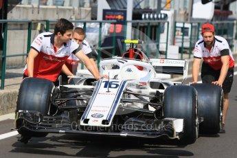 World © Octane Photographic Ltd. Formula 1 – Hungarian GP - Paddock. Alfa Romeo Sauber F1 Team C37 – Charles Leclerc. Hungaroring, Budapest, Hungary. Saturday 28th July 2018.