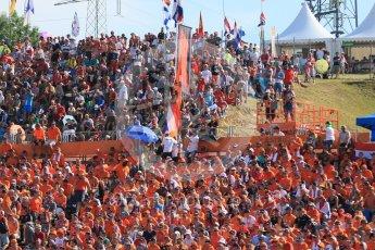 World © Octane Photographic Ltd. Formula 1 – Hungarian GP - Podium. Dutch Crowd in the start/finish straight grandstand. Hungaroring, Budapest, Hungary. Sunday 29th July 2018.