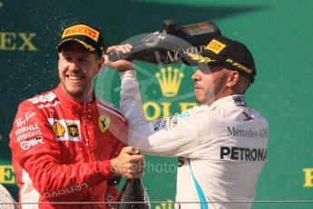 World © Octane Photographic Ltd. Formula 1 – Hungarian GP - Podium. Scuderia Ferrari SF71-H – Sebastian Vettel and Mercedes AMG Petronas Motorsport AMG F1 W09 EQ Power+ - Lewis Hamilton. Hungaroring, Budapest, Hungary. Sunday 29th July 2018.