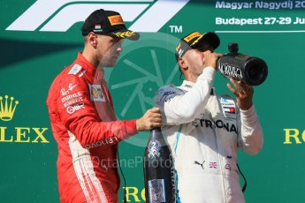 World © Octane Photographic Ltd. Formula 1 – Hungarian GP - Podium. Mercedes AMG Petronas Motorsport AMG F1 W09 EQ Power+ - Lewis Hamilton and Scuderia Ferrari SF71-H – Sebastian Vettel. Hungaroring, Budapest, Hungary. Sunday 29th July 2018.