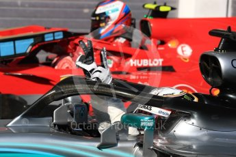 World © Octane Photographic Ltd. Formula 1 – Hungarian GP - Parc Ferme. Mercedes AMG Petronas Motorsport AMG F1 W09 EQ Power+ - Lewis Hamilton and Scuderia Ferrari SF71-H – Kimi Raikkonen. Hungaroring, Budapest, Hungary. Sunday 29th July 2018.