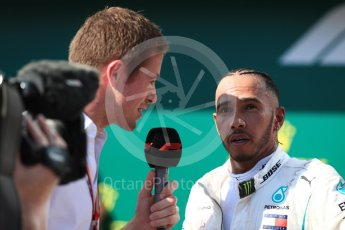 World © Octane Photographic Ltd. Formula 1 – Hungarian GP - Parc Ferme. Mercedes AMG Petronas Motorsport AMG F1 W09 EQ Power+ - Lewis Hamilton and Paul di Resta. Hungaroring, Budapest, Hungary. Sunday 29th July 2018.