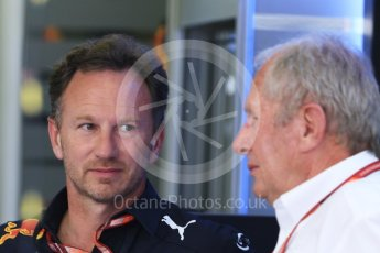 World © Octane Photographic Ltd. Formula 1 - Hungarian GP - Paddock. Christian Horner - Team Principal and Helmut Marko - advisor to the Red Bull GmbH Formula One Teams and head of Red Bull's driver development program. Hungaroring, Budapest, Hungary. Friday 27th July 2018.