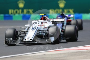 World © Octane Photographic Ltd. Formula 1 – Hungarian GP - Practice 3. Alfa Romeo Sauber F1 Team C37 – Charles Leclerc and Scuderia Toro Rosso STR13 – Brendon Hartley. Hungaroring, Budapest, Hungary. Saturday 28th July 2018.