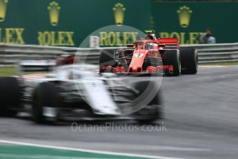 World © Octane Photographic Ltd. Formula 1 – Hungarian GP - Qualifying. Alfa Romeo Sauber F1 Team C37 – Marcus Ericsson and Scuderia Ferrari SF71-H – Kimi Raikkonen. Hungaroring, Budapest, Hungary. Saturday 28th July 2018.