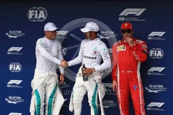 World © Octane Photographic Ltd. Formula 1 – Hungarian GP - Qualifying. Mercedes AMG Petronas Motorsport AMG F1 W09 EQ Power+ - Lewis Hamilton and Valtteri Bottas and Scuderia Ferrari SF71-H – Kimi Raikkonen. Hungaroring, Budapest, Hungary. Saturday 28th July 2018.