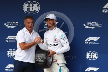 World © Octane Photographic Ltd. Formula 1 – Hungarian GP - Qualifying. Jean Alesi and Mercedes AMG Petronas Motorsport AMG F1 W09 EQ Power+ - Lewis Hamilton. Hungaroring, Budapest, Hungary. Saturday 28th July 2018.