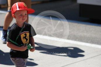 World © Octane Photographic Ltd. Formula 1 – Hungarian GP - Paddock. Scuderia Ferrari – Kimi Raikkonen son Robin. Hungaroring, Budapest, Hungary. Sunday 29th July 2018.