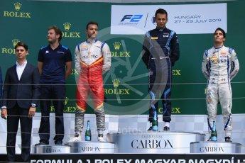 World © Octane Photographic Ltd. FIA Formula 2 (F2) – Hungarian GP - Race 2. DAMS - Alexander Albon, Campos Vexatec Racing - Luca Ghiotto and Carlin - Sergio Sette Camara. Hungaroring, Budapest, Hungary. Sunday 29th July 2018.