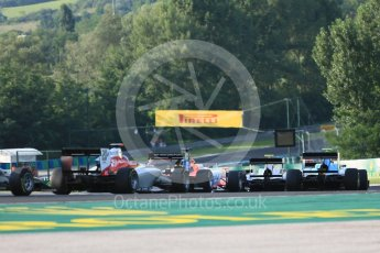 World © Octane Photographic Ltd. GP3 – Hungarian GP – Race 1. The pack heads away from Turn 2. Hungaroring, Budapest, Hungary. Saturday 28th July 2018.