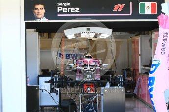 World © Octane Photographic Ltd. Formula 1 – Hungarian GP - Pitlane. Sahara Force India VJM11 - Sergio Perez. Hungaroring, Budapest, Hungary. Thursday 26th July 2018.