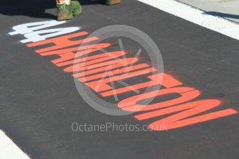 World © Octane Photographic Ltd. Formula 1 – Hungarian GP - Pitlane. Mercedes AMG Petronas Motorsport AMG F1 W09 EQ Power+ - Lewis Hamilton. Hungaroring, Budapest, Hungary. Thursday 26th July 2018.