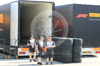 World © Octane Photographic Ltd. Formula 1 – Hungarian GP - Pitlane. Pirelli trucks unloading. Hungaroring, Budapest, Hungary. Thursday 26th July 2018.