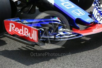 World © Octane Photographic Ltd. Formula 1 – Hungarian GP - Pit Lane. Scuderia Toro Rosso STR13 – Brendon Hartley. Hungaroring, Budapest, Hungary. Thursday 26th July 2018.