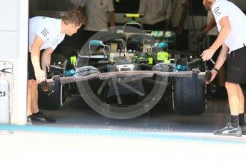 World © Octane Photographic Ltd. Formula 1 – Hungarian GP - Pit Lane. Mercedes AMG Petronas Motorsport AMG F1 W09 EQ Power+. Hungaroring, Budapest, Hungary. Thursday 26th July 2018.