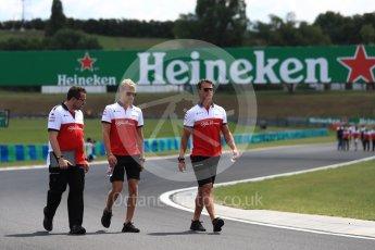 World © Octane Photographic Ltd. Formula 1 – Hungarian GP - Track walk. Alfa Romeo Sauber F1 Team  – Marcus Ericsson. Hungaroring, Budapest, Hungary. Thursday 26th July 2018.