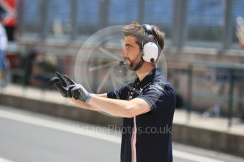World © Octane Photographic Ltd. Formula 1 – Hungarian Post-Race Test - Day 1. Sahara Force India mechanic checks orders the tyre warmers off and the car cleared before releasing Nicholas Latifi from his garage. Hungaroring, Budapest, Hungary. Tuesday 31st July 2018.