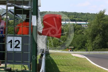 World © Octane Photographic Ltd. Formula 1 – Hungarian Post-Race Test - Day 2. Rad flag caused by the stopping of the Sahara Force India VJM11 of Nikita Mazepin at turn 11. Hungaroring, Budapest, Hungary. Wednesday 1st August 2018.