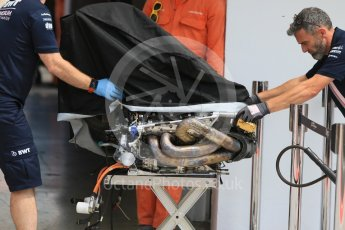 World © Octane Photographic Ltd. Formula 1 – Hungarian Post-Race Test - Day 2. Sahara Force India remove an engine from the garage – Nikita Mazepin. Hungaroring, Budapest, Hungary. Wednesday 1st August 2018.