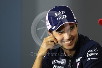 World © Octane Photographic Ltd. Formula 1 – Italian GP - FIA Drivers' Press Conference. Racing Point Force India - Sergio Perez. Autodromo Nazionale di Monza, Monza, Italy. Thursday 30th August 2018.