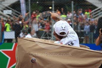 World © Octane Photographic Ltd. Formula 1 – Italian GP - Drivers Parade. Mercedes AMG Petronas Motorsport AMG F1 W09 EQ Power+ - Lewis Hamilton. Autodromo Nazionale di Monza, Monza, Italy. Sunday 2nd September 2018.