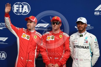 World © Octane Photographic Ltd. Formula 1 – Italian GP - Qualifying. Scuderia Ferrari SF71-H – Kimi Raikkonen, Sebastian Vettel and Mercedes AMG Petronas Motorsport AMG F1 W09 EQ Power+ - Lewis Hamilton. Autodromo Nazionale di Monza, Monza, Italy. Saturday 1st September 2018.