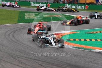 World © Octane Photographic Ltd. Formula 1 – Italian GP - Race. Mercedes AMG Petronas Motorsport AMG F1 W09 EQ Power+ - Lewis Hamilton and Scuderia Ferrari SF71-H – Kimi Raikkonen. Autodromo Nazionale di Monza, Monza, Italy. Sunday 2nd September 2018.
