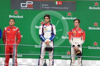 World © Octane Photographic Ltd. GP3 – Italian GP - Race 2. Trident - Guiliano Alesi, Pedro Piquet and Callum Ilott. Autodromo Nazionale di Monza, Monza, Italy. Sunday 2nd September 2018