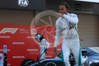 World © Octane Photographic Ltd. Formula 1 – Japanese GP – Parc Ferme. Mercedes AMG Petronas Motorsport AMG F1 W09 EQ Power+ - Lewis Hamilton. Suzuka Circuit, Japan. Sunday 7th October 2018.