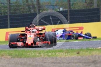 World © Octane Photographic Ltd. Formula 1 – Japanese GP - Practice 1. Scuderia Ferrari SF71-H – Sebastian Vettel and Scuderia Toro Rosso STR13 – Brendon Hartley. Suzuka Circuit, Japan. Friday 5th October 2018.