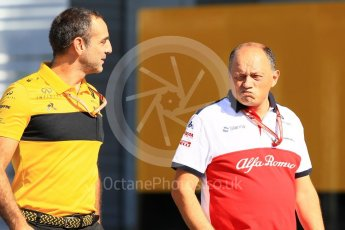 World © Octane Photographic Ltd. Formula 1 - Japanese GP - Paddock. Cyril Abiteboul - Managing Director of Renault Sport Racing Formula 1 Team and Frederic Vasseur – Team Principal and CEO of Sauber Motorsport AG. Suzuka Circuit, Japan. Sunday 7th October 2018.