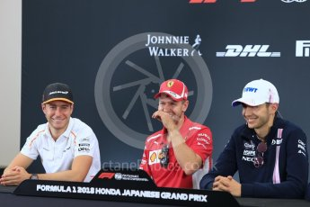 World © Octane Photographic Ltd. Formula 1 – Japanese GP - FIA Drivers' Press Conference Racing Point Force India - Esteban Ocon, McLaren – Stoffel Vandoorne and Scuderia Ferrari – Sebastian Vettel. Suzuka Circuit, Japan. Thursday 4th October 2018.