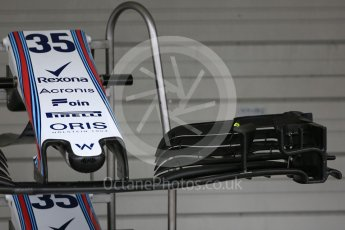 World © Octane Photographic Ltd. Formula 1 – Japanese GP - Pit Lane. Williams Martini Racing FW41 front wing– Sergey Sirotkin. Suzuka Circuit, Japan. Thursday 4th October 2018.