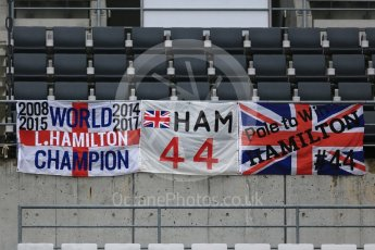 World © Octane Photographic Ltd. Formula 1 – Japanese GP – Fans' Hamilton flags in the main grandstand. Suzuka Circuit, Japan. Thursday 4th October 2018.
